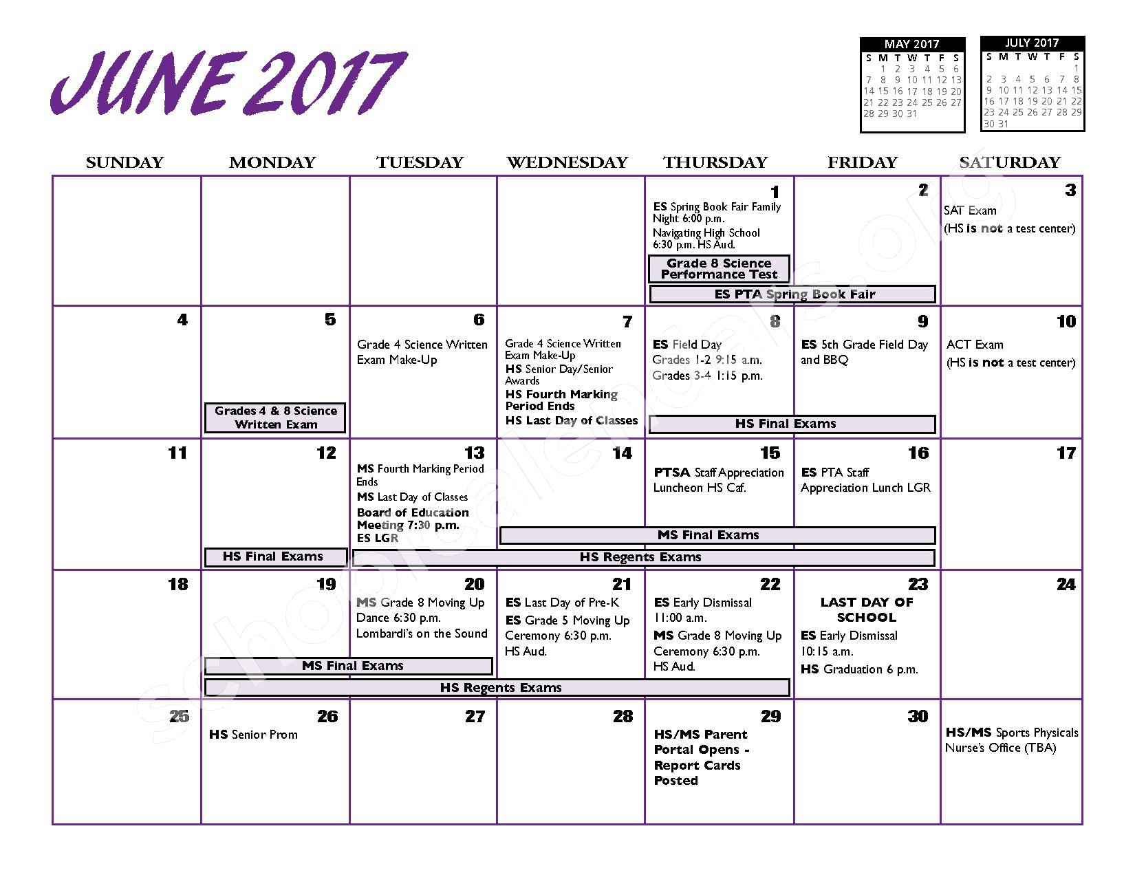 2016 - 2017 District Calendar – Port Jefferson Union Free School District – page 13