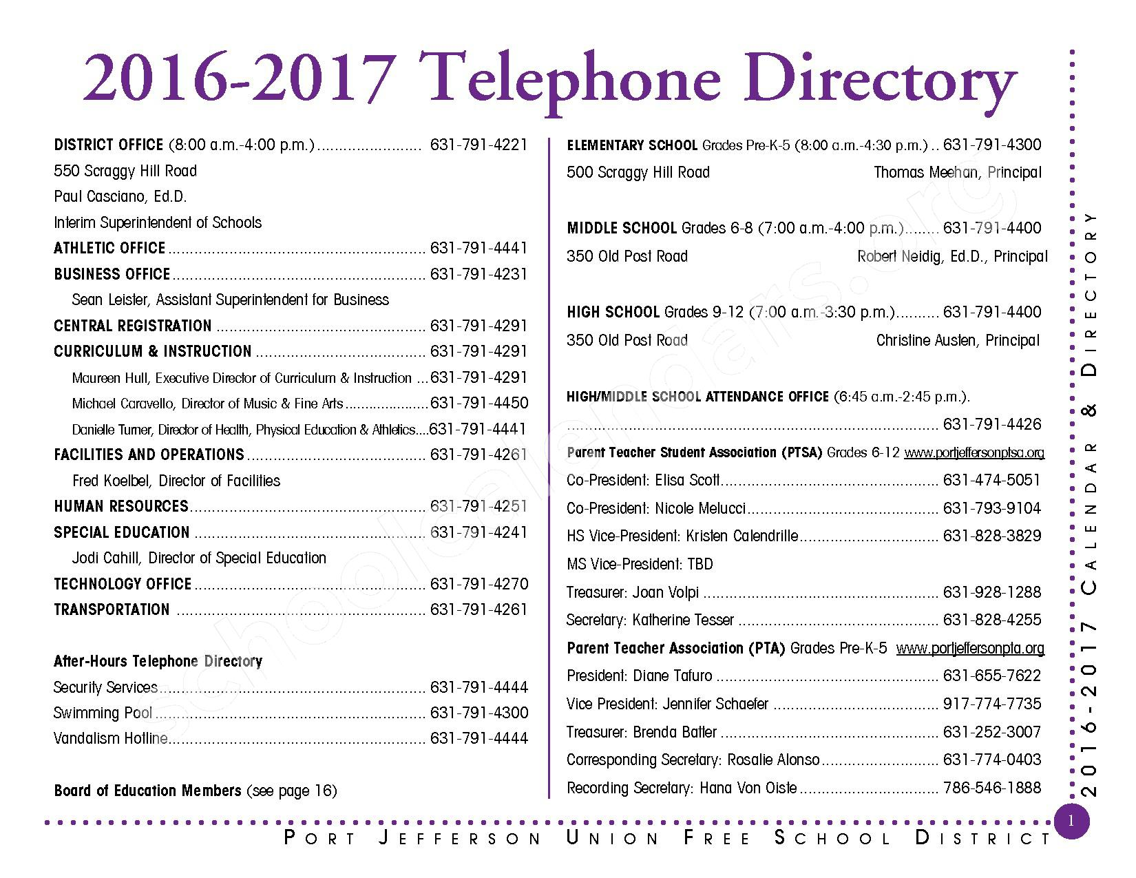 2016 - 2017 District Calendar – Port Jefferson Union Free School District – page 2