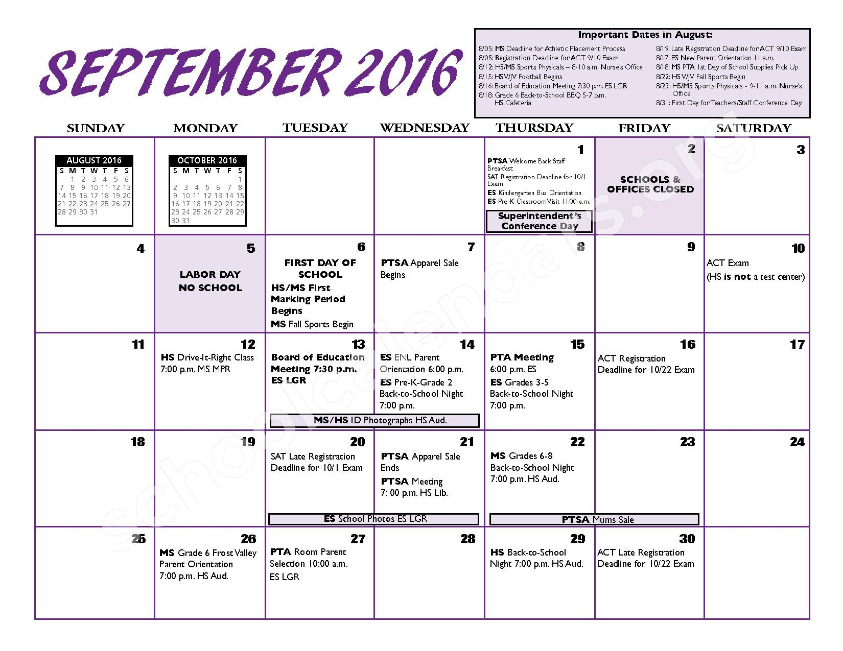 2016 - 2017 District Calendar – Port Jefferson Union Free School District – page 4