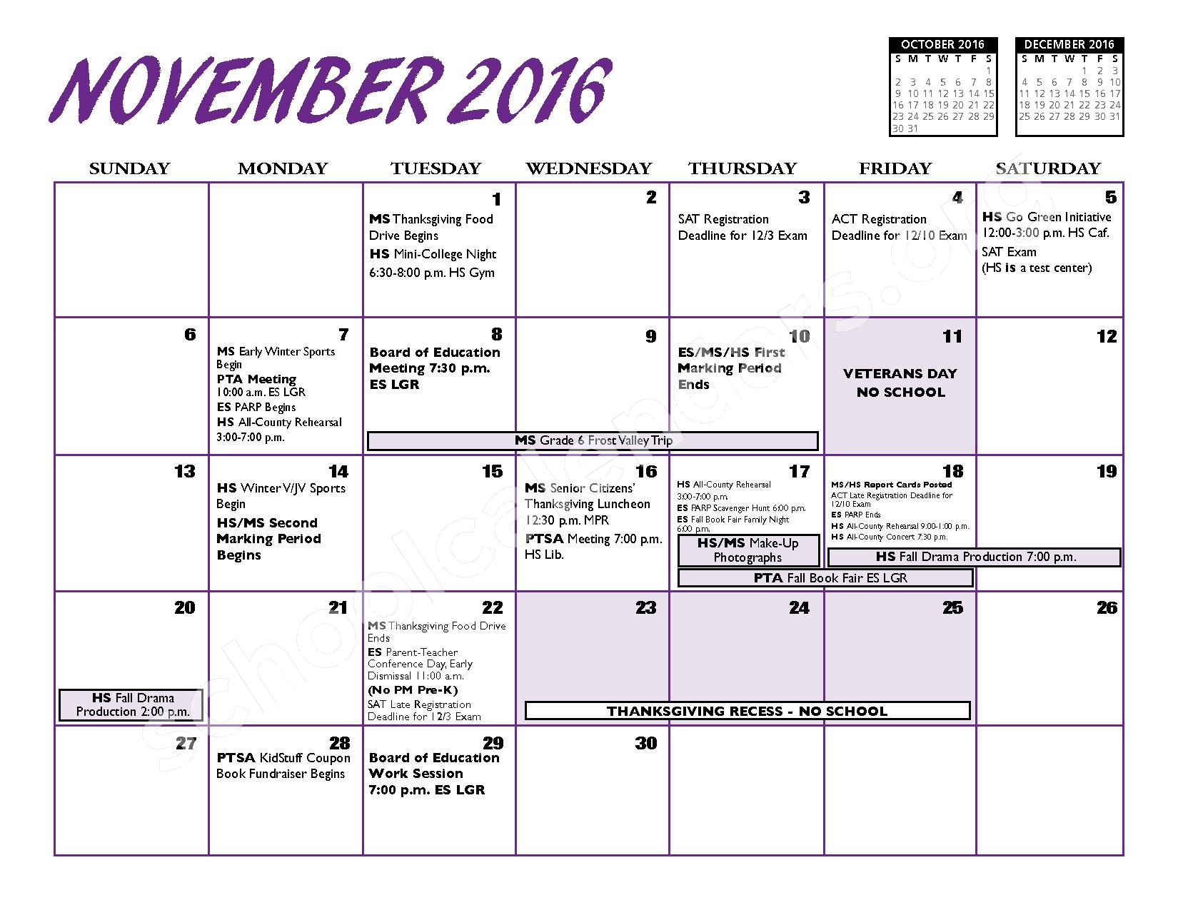 2016 - 2017 District Calendar – Port Jefferson Union Free School District – page 6