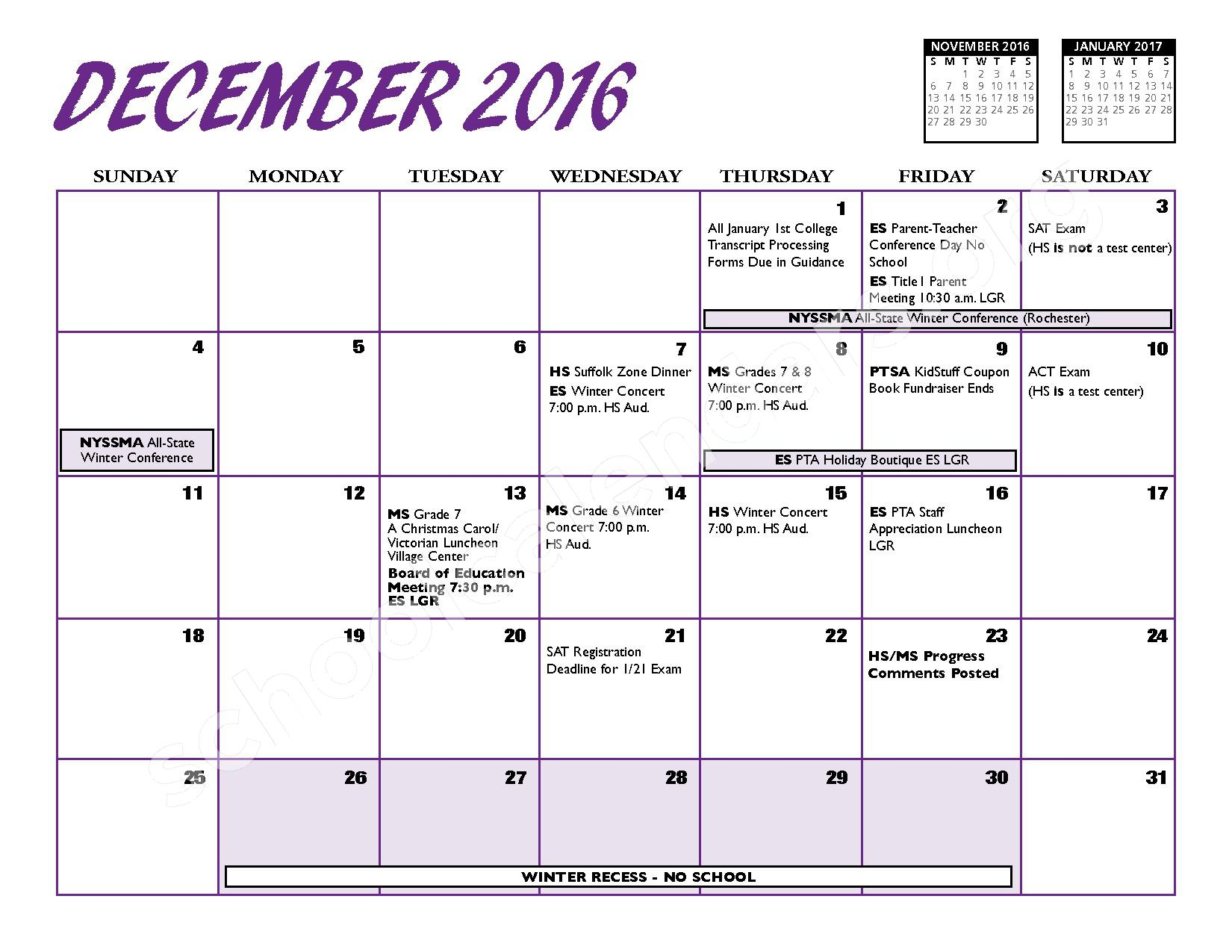 2016 - 2017 District Calendar – Port Jefferson Union Free School District – page 7