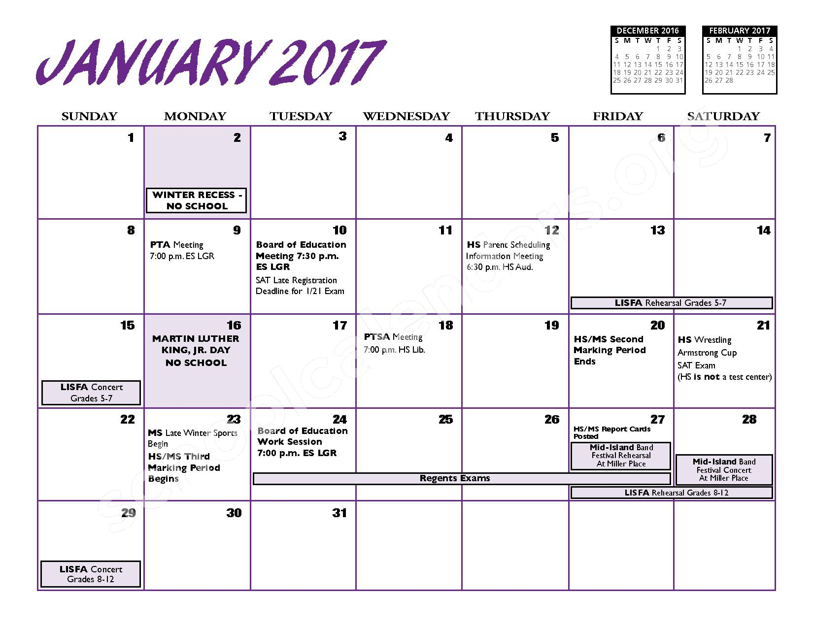 2016 - 2017 District Calendar – Port Jefferson Union Free School District – page 8