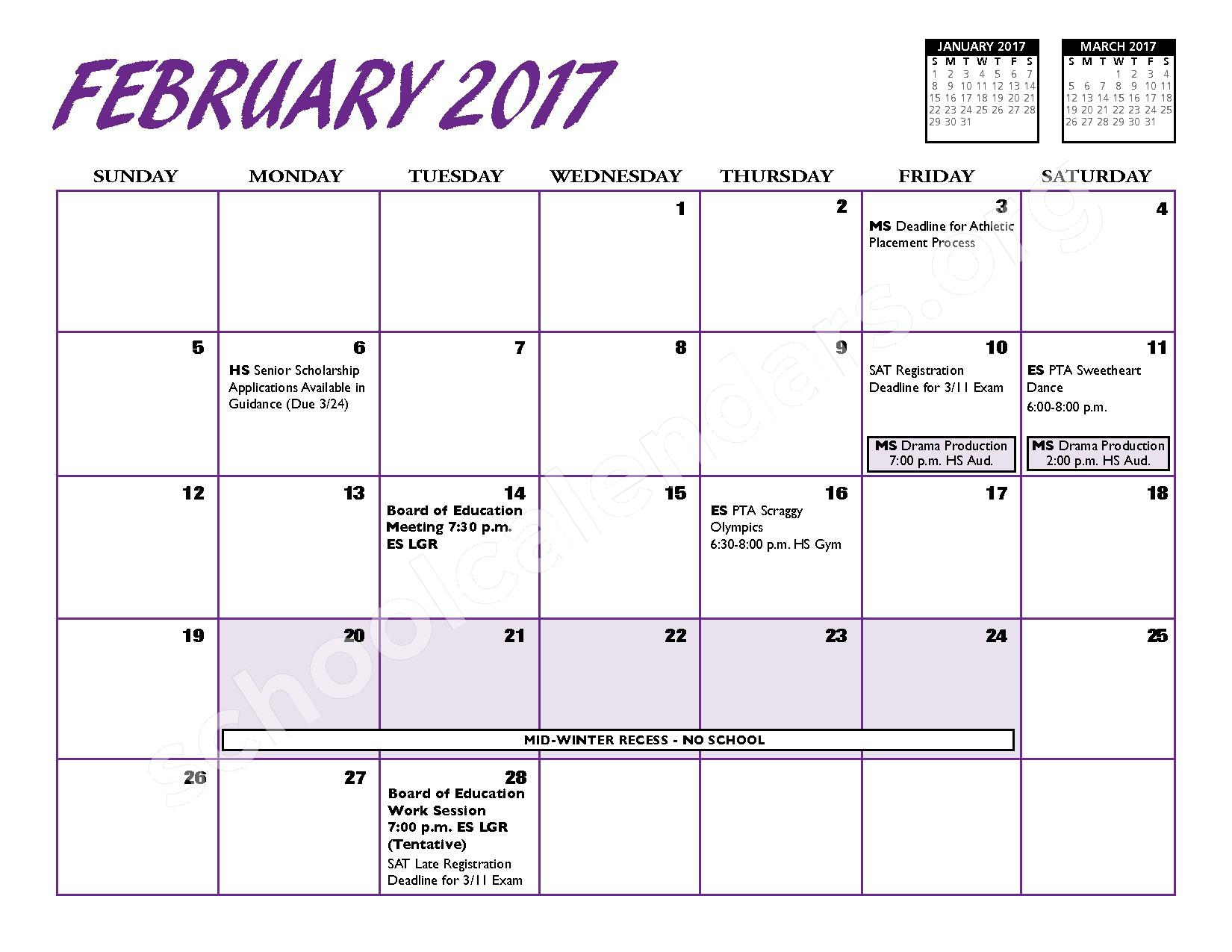 2016 - 2017 District Calendar – Port Jefferson Union Free School District – page 9