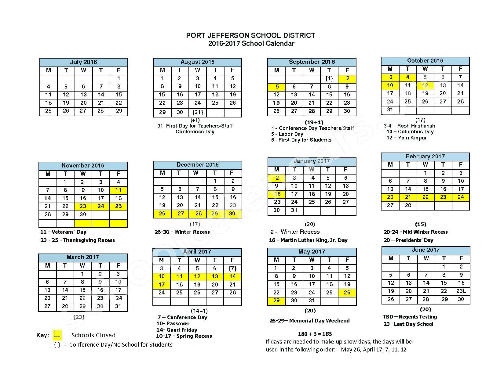 2016 - 2017 District Calendar – Port Jefferson Union Free School District – page 1