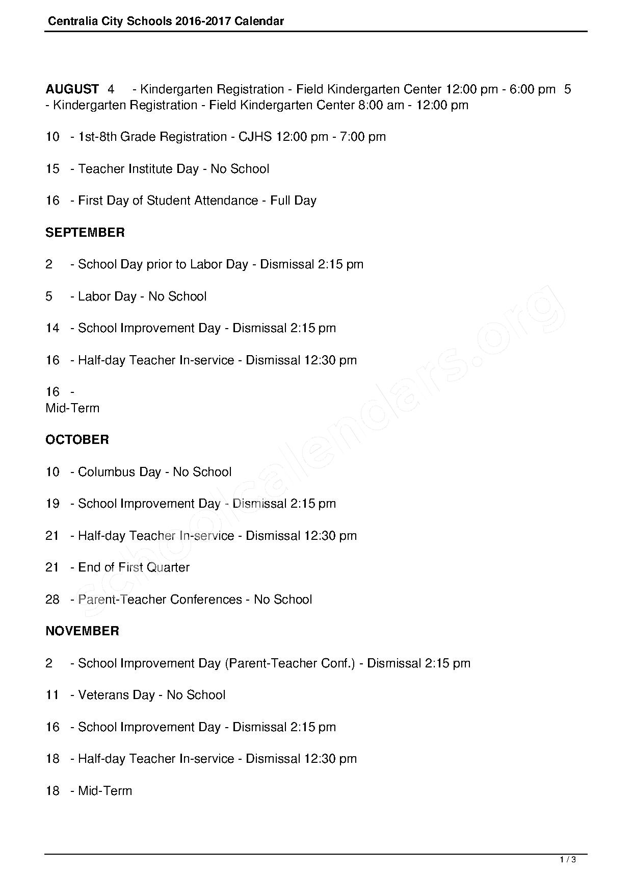 2016 - 2017 District Calendar – Irving Elementary School – page 1