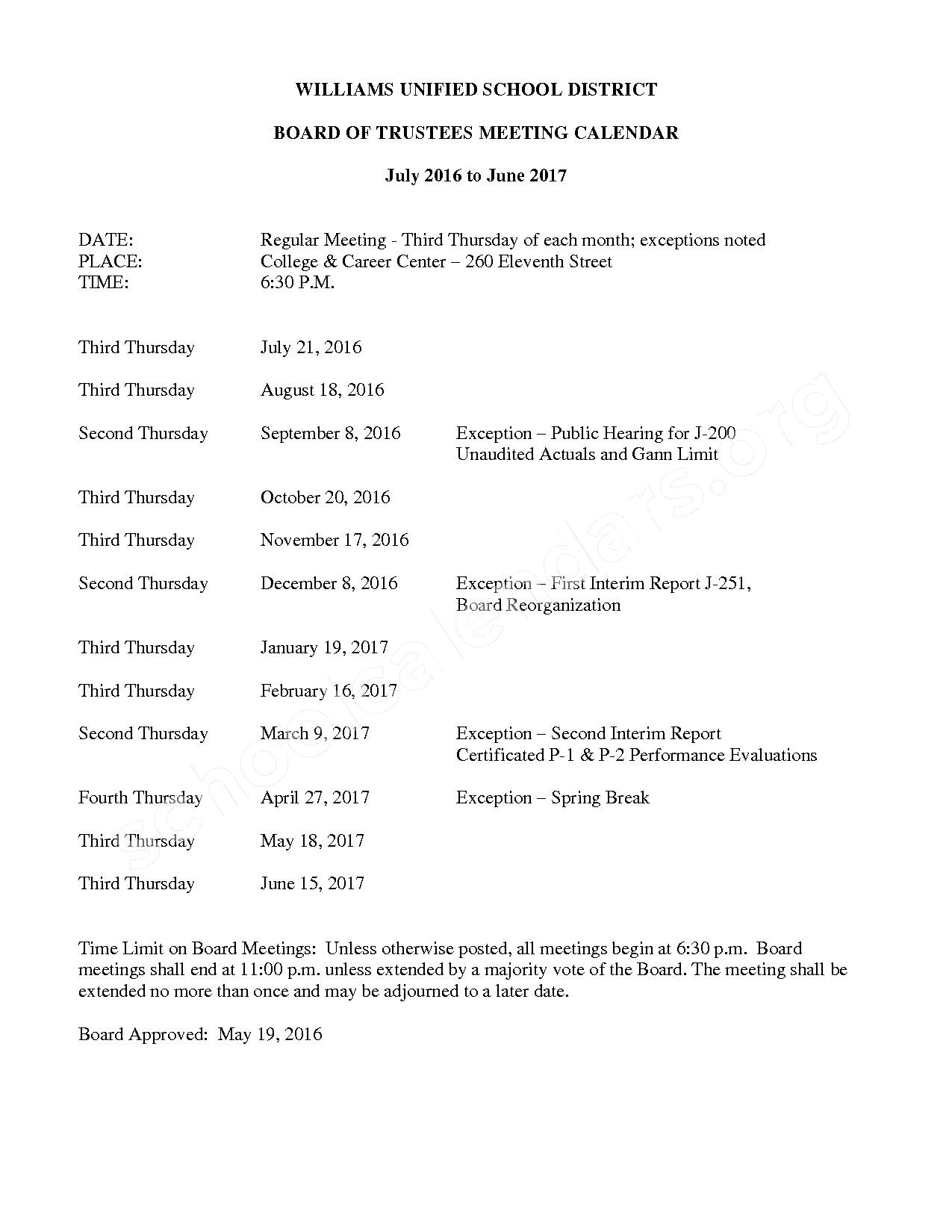 2016 - 2017 Board of Trustee Calendar – Williams Unified School District – page 1