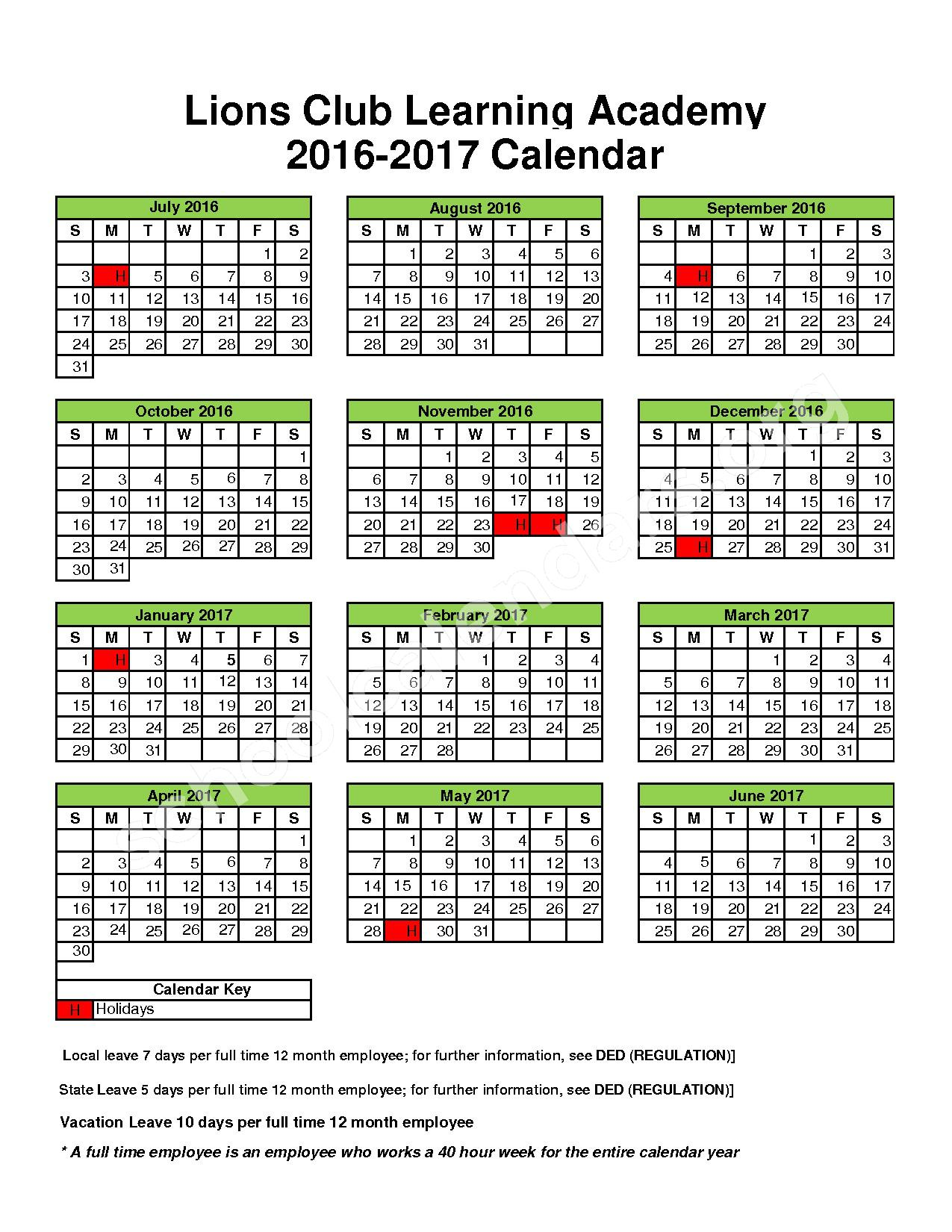 2016 - 2017 District Calendar – Dublin Independent School District – page 1