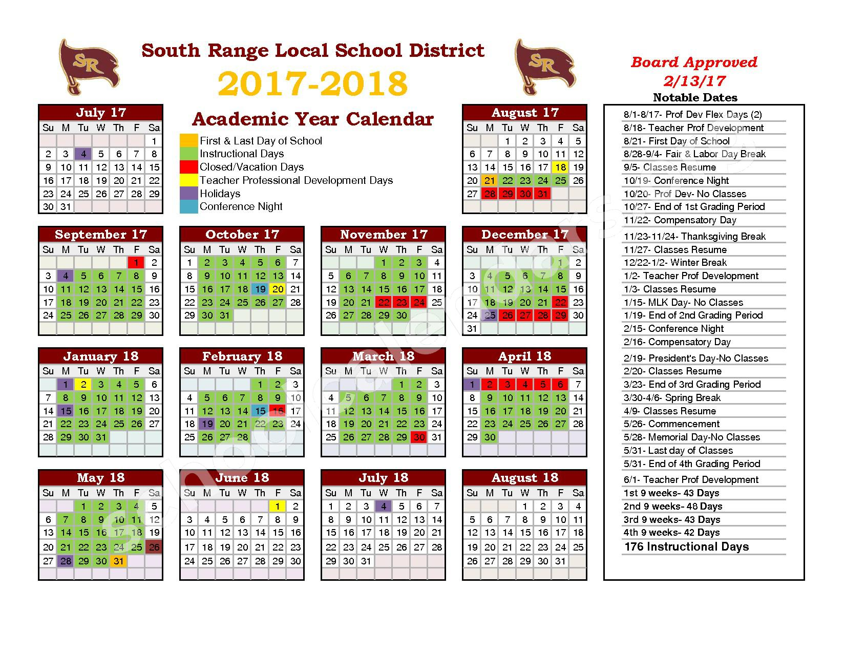 2017 - 2018 School Calendar – South Range Local School District – page 1
