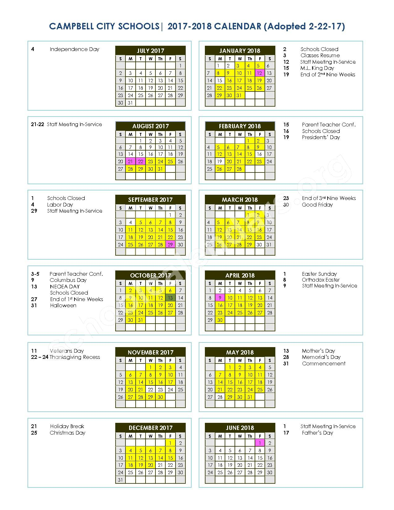 2017-1018 School Calendar – Campbell City Schools – page 1