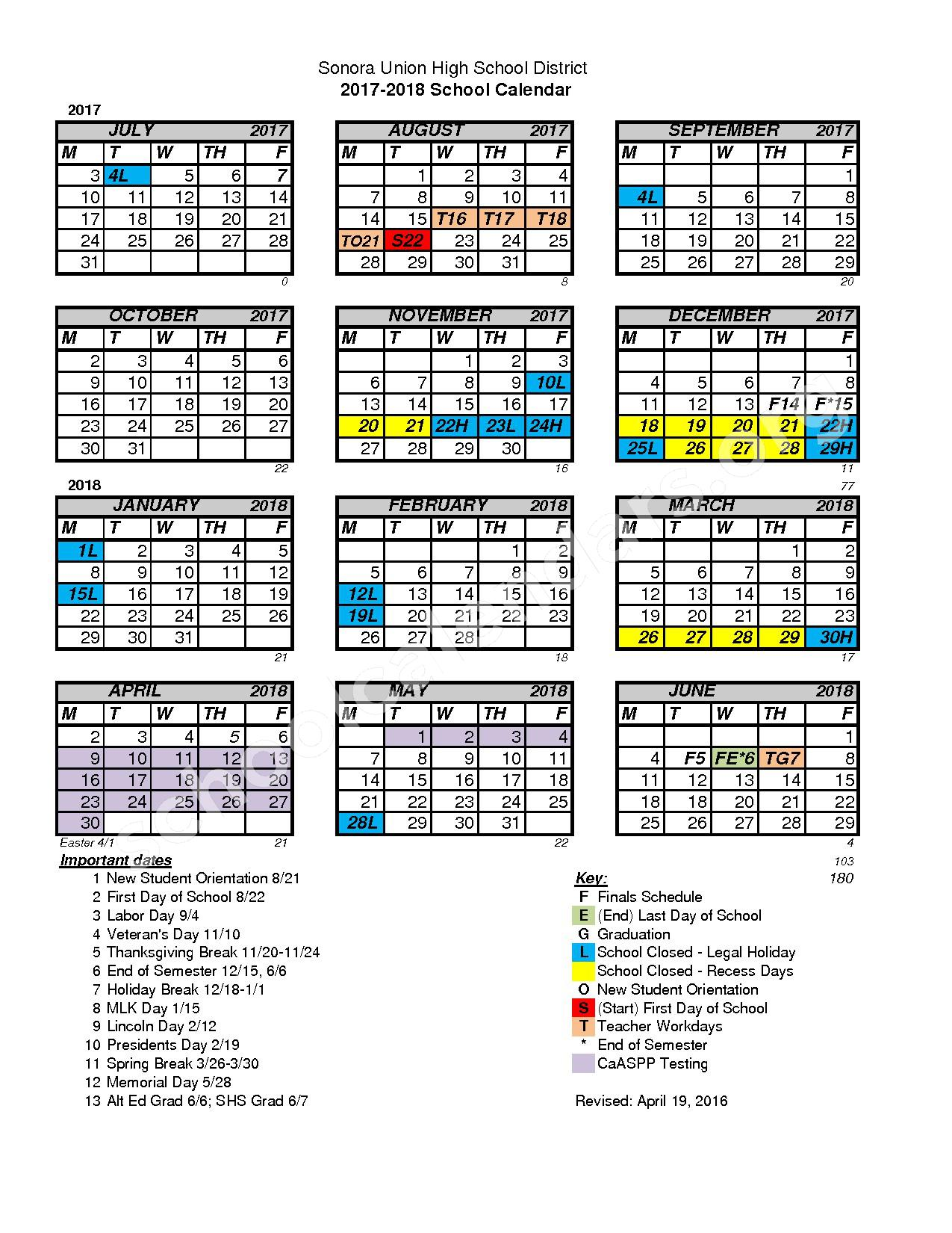 2017 - 2018 School Calendar – Sonora Union High School District – page 1