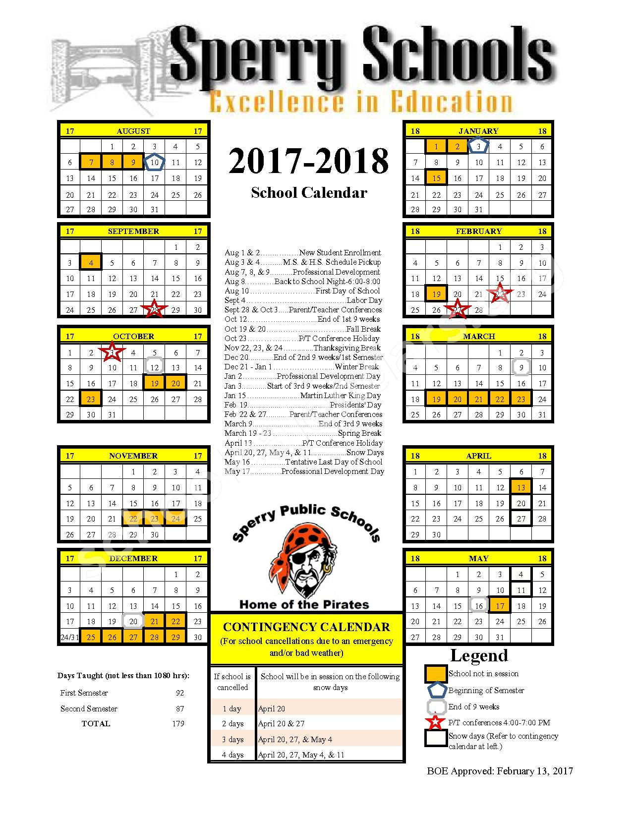 2017 - 2018 School Calendar – Sperry Elementary School – page 1