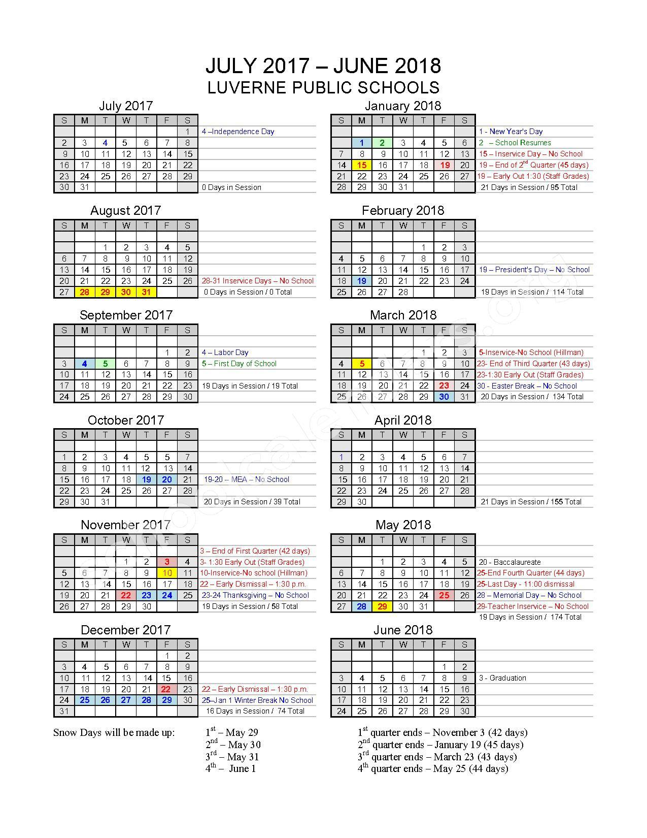 2017 - 2018 School Calendar – Luverne Public School District – page 1