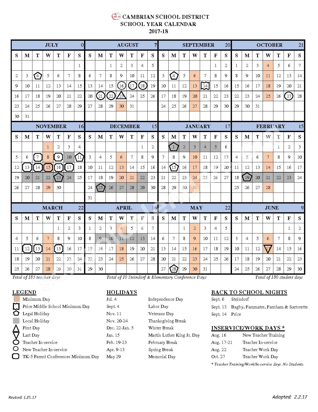 2017 - 2018 School Calendar – Cambrian School District – page 1
