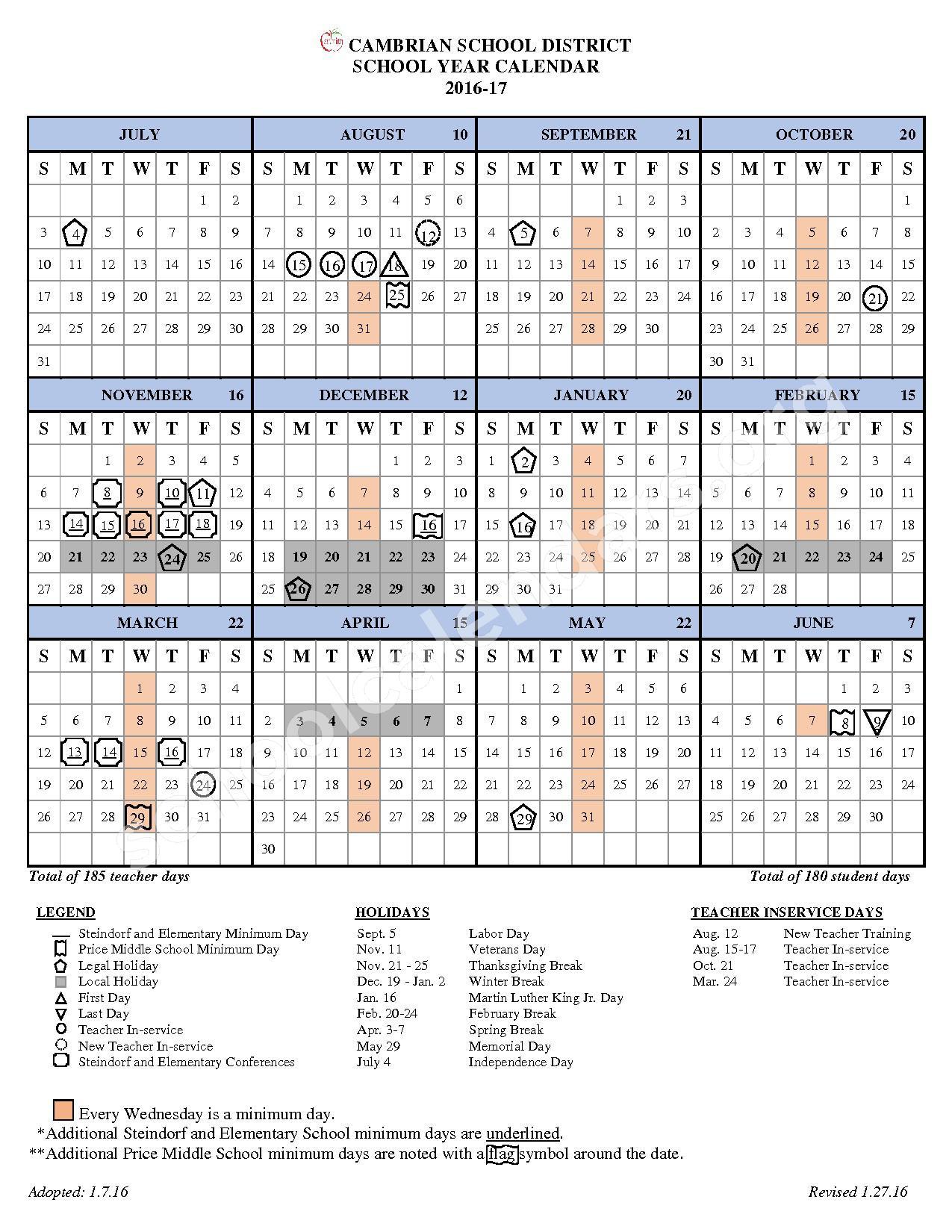 2016 - 2017 School Calendar – Cambrian School District – page 1