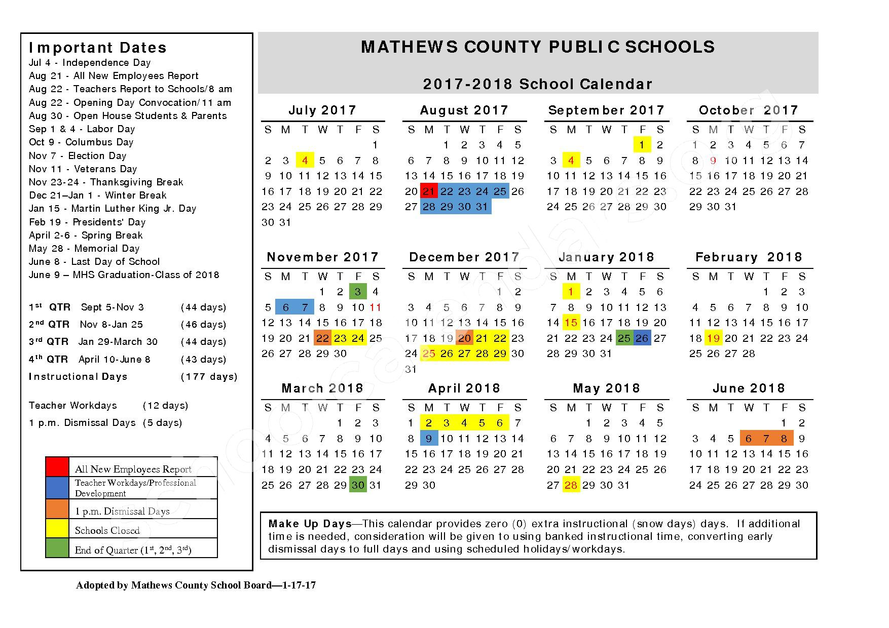 2017 - 2018 School Calendar – Mathews County Public Schools – page 1