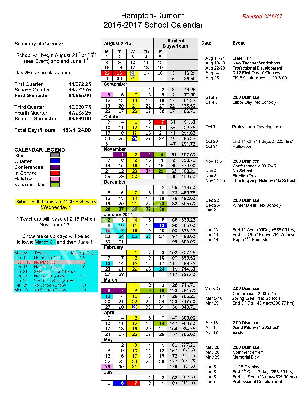 2016 - 2017 School Calendar – Hampton-Dumont Community School District – page 1