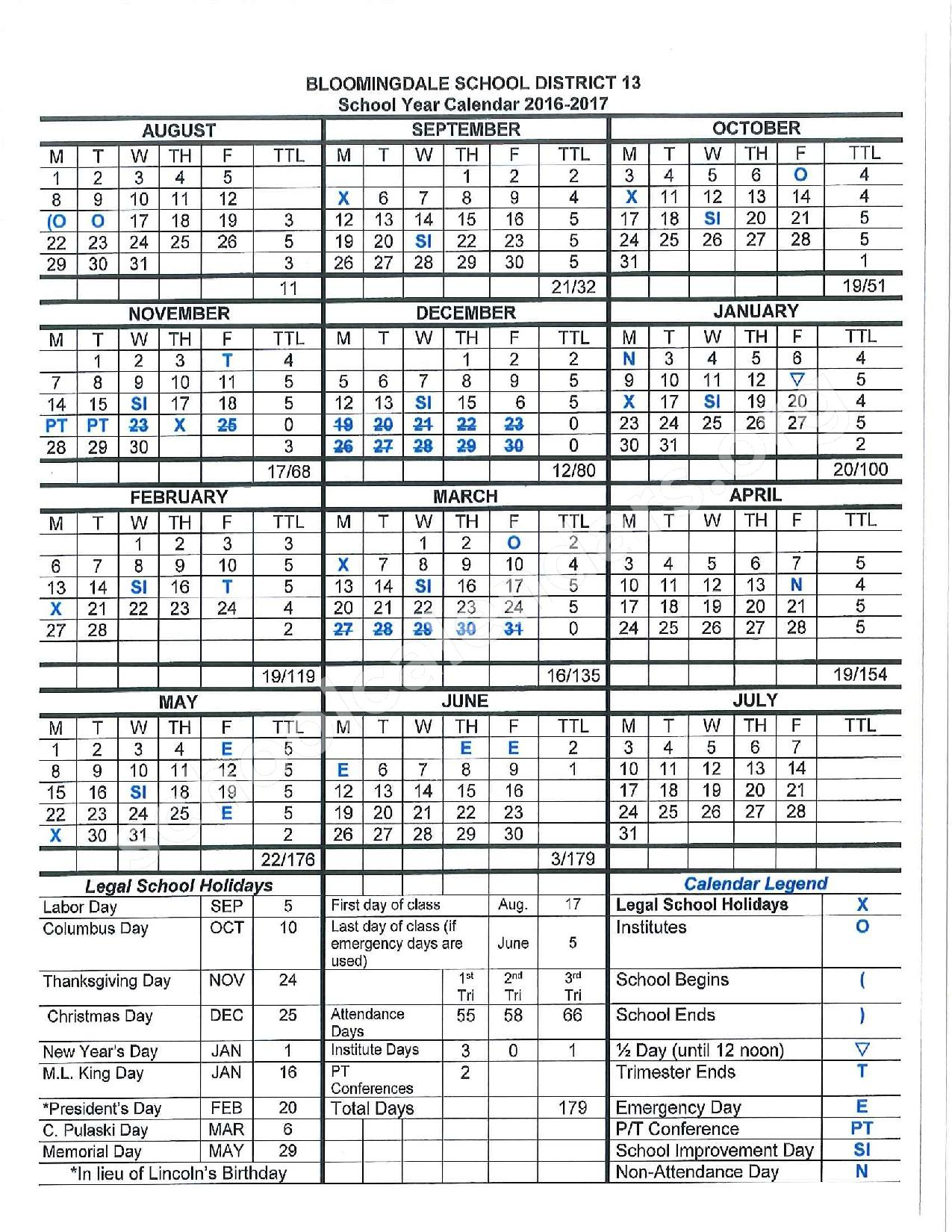 2016 - 2017 School Calendar – Bloomingdale School District 13 – page 1