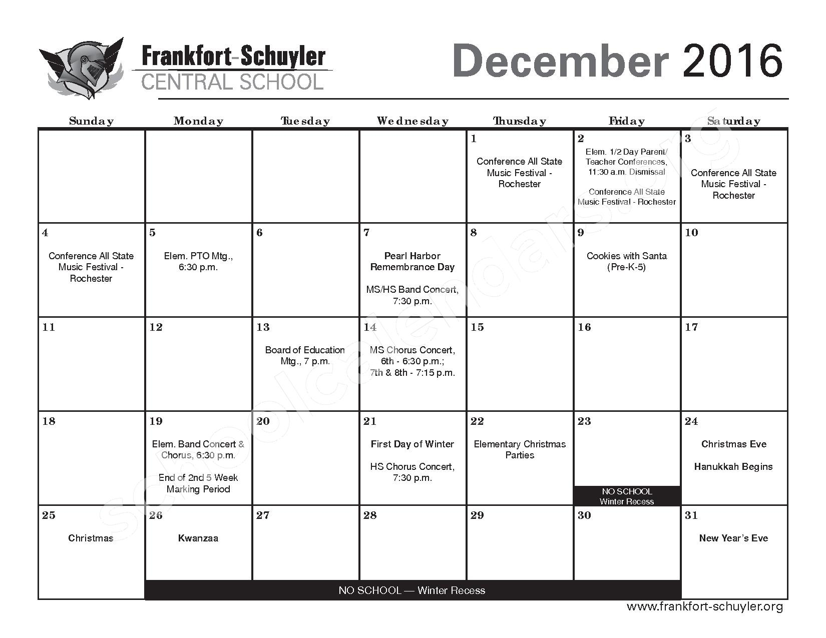 2016 - 2017 District Calendar – Frankfort-Schuyler Central School District – page 11