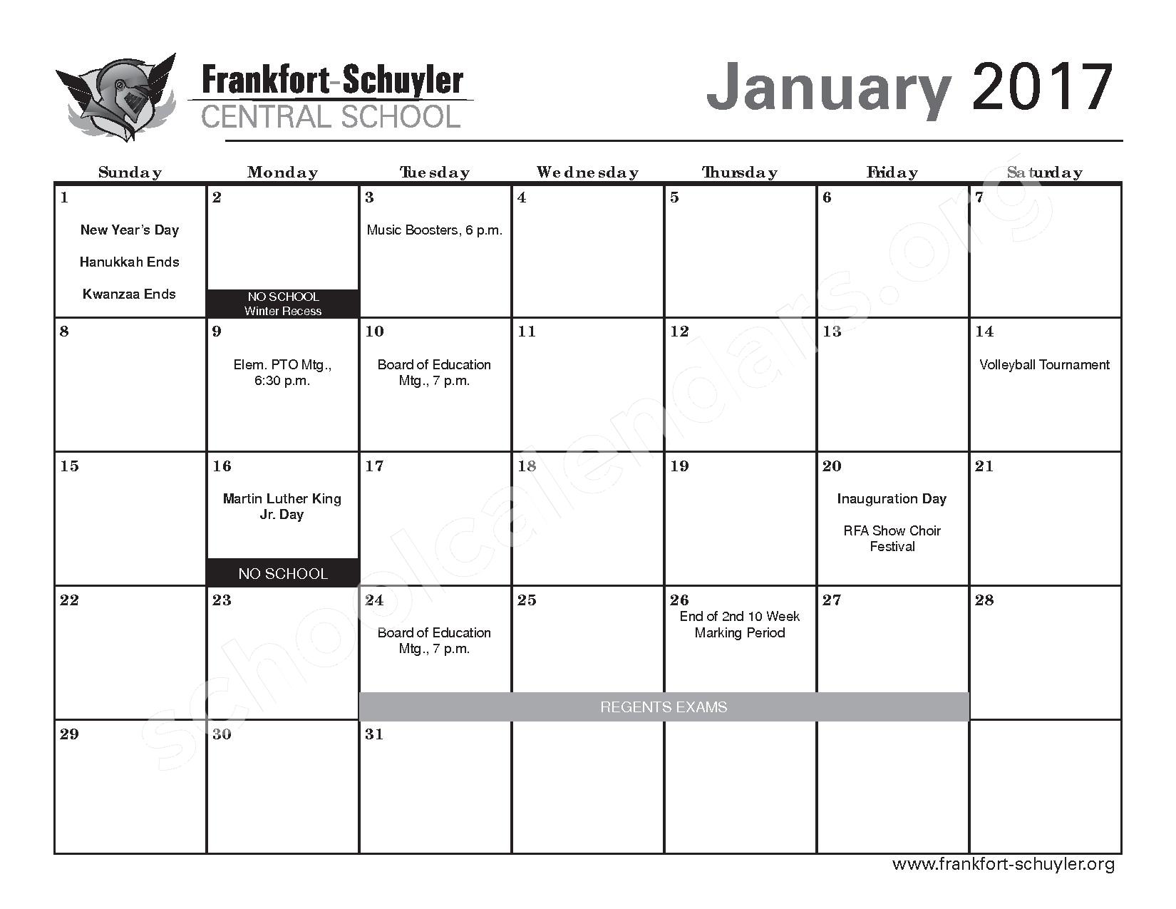 2016 - 2017 District Calendar – Frankfort-Schuyler Central School District – page 13