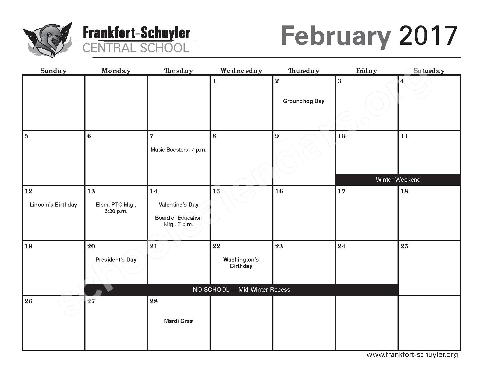 2016 - 2017 District Calendar – West Frankfort Elementary School – page 15
