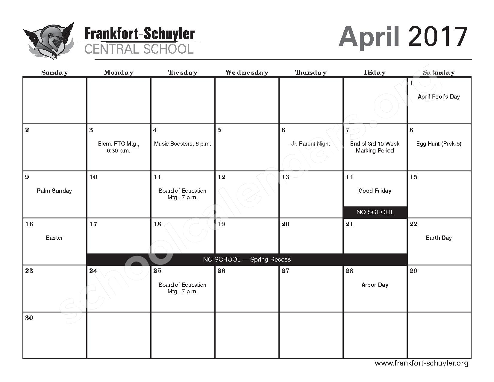 2016 - 2017 District Calendar – West Frankfort Elementary School – page 19