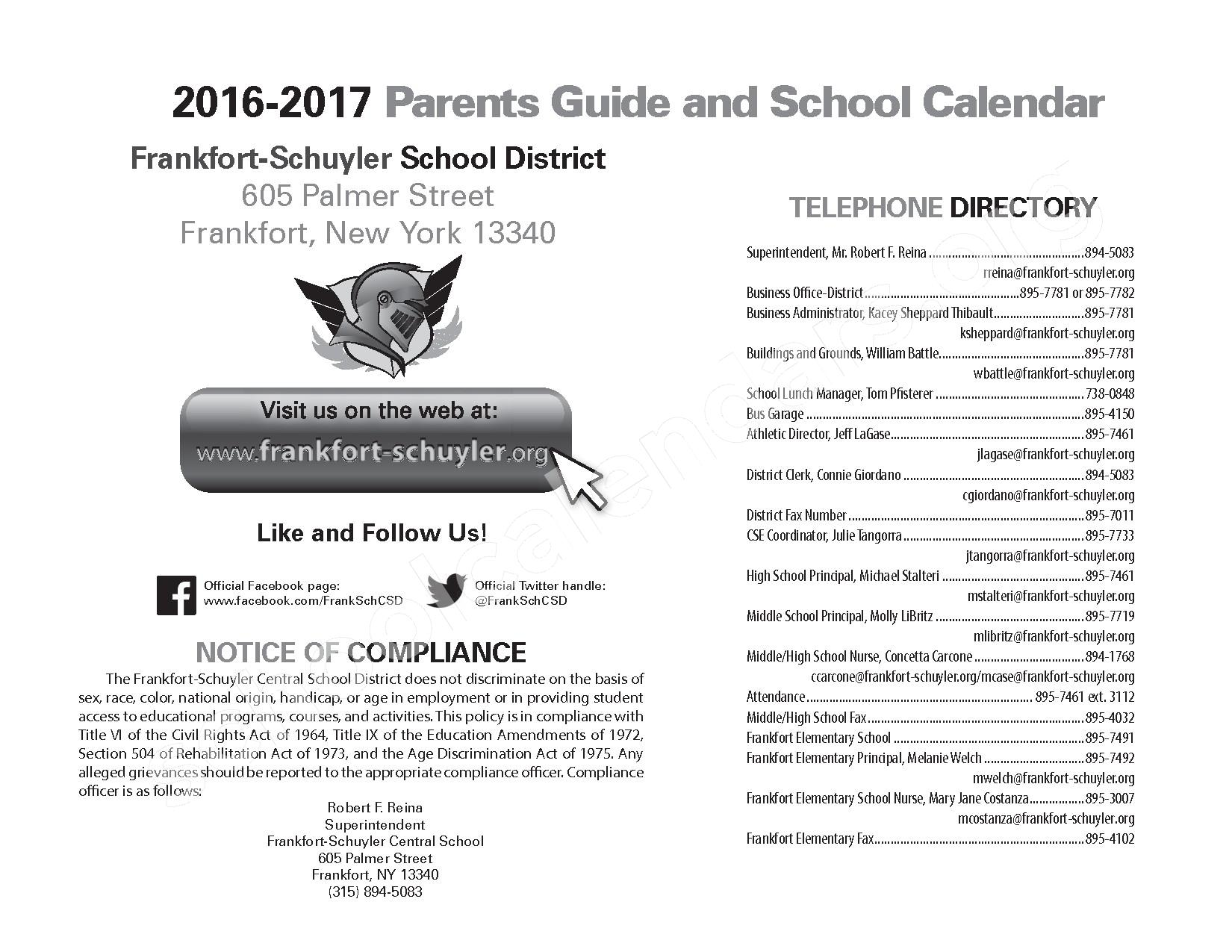 2016 - 2017 District Calendar – West Frankfort Elementary School – page 2