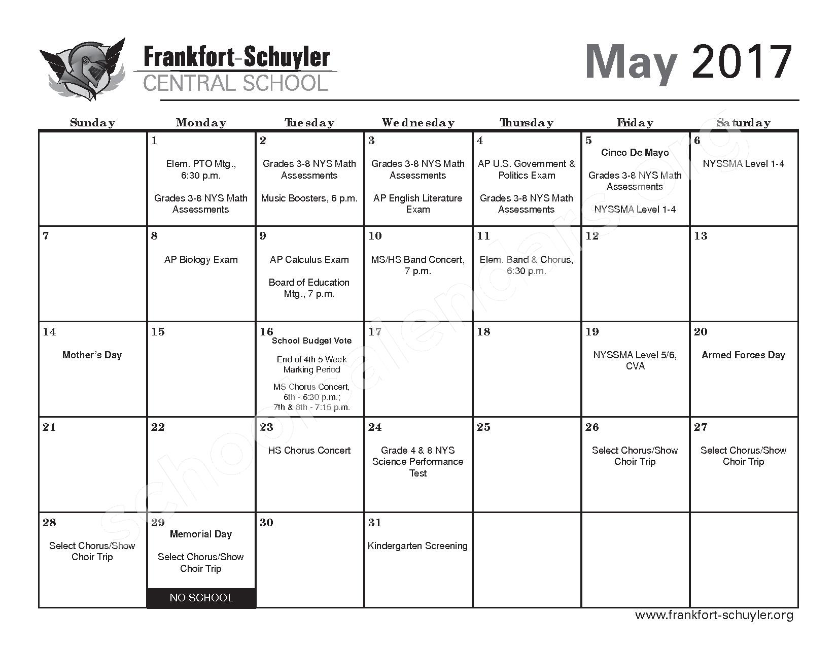 2016 - 2017 District Calendar – Frankfort-Schuyler Central School District – page 21