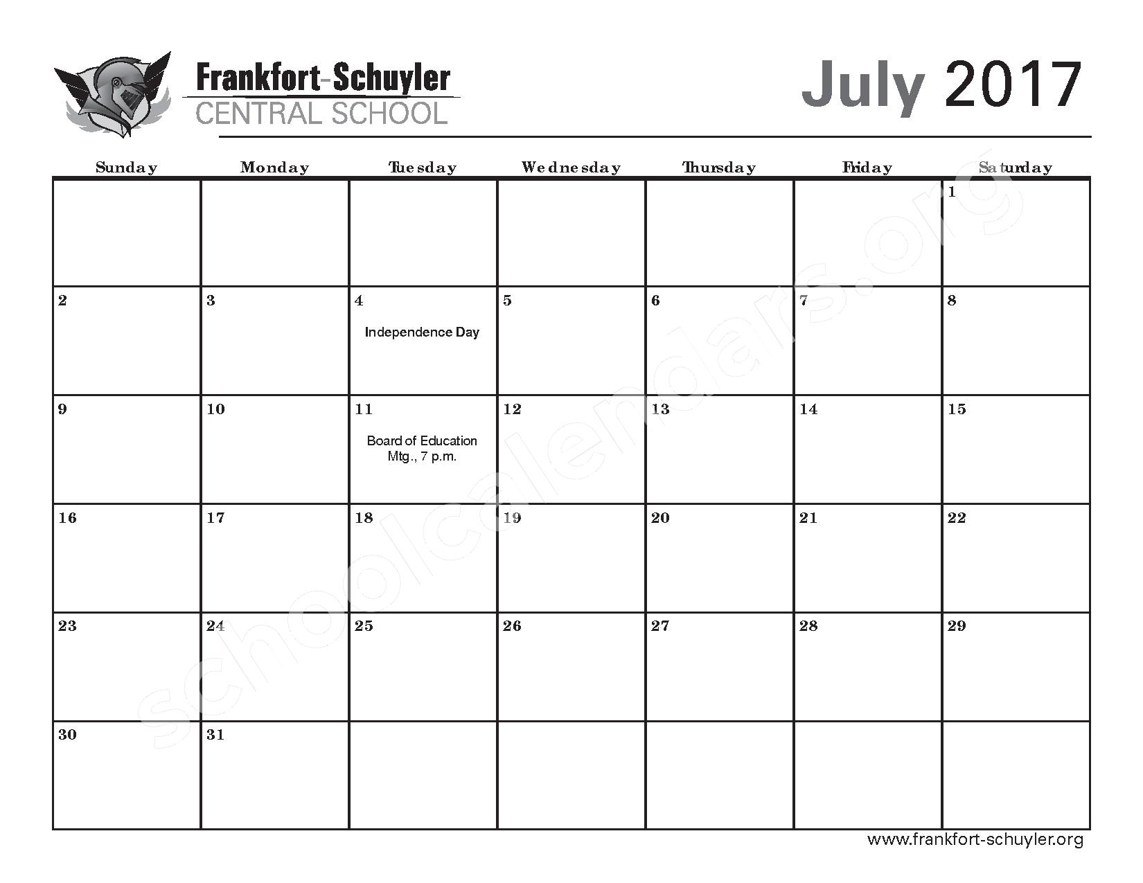 2016 - 2017 District Calendar – West Frankfort Elementary School – page 25
