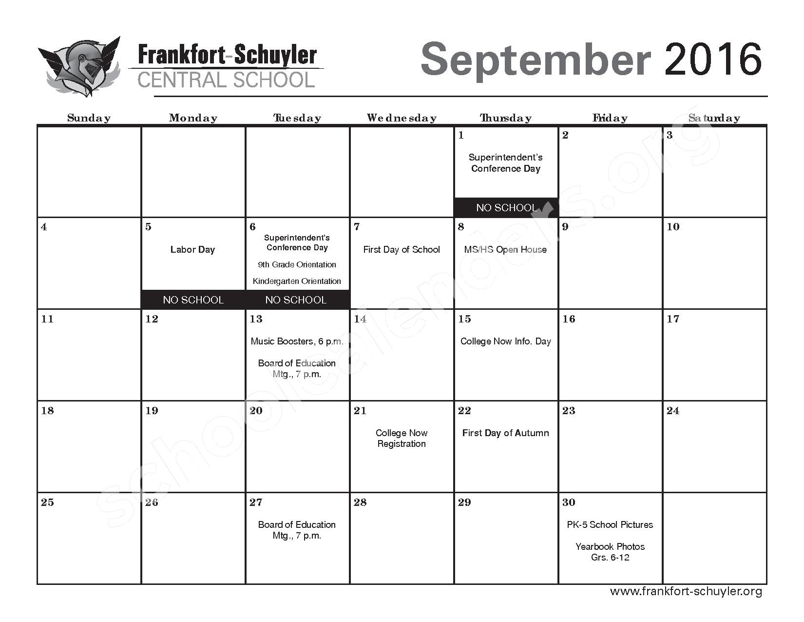 2016 - 2017 District Calendar – West Frankfort Elementary School – page 5