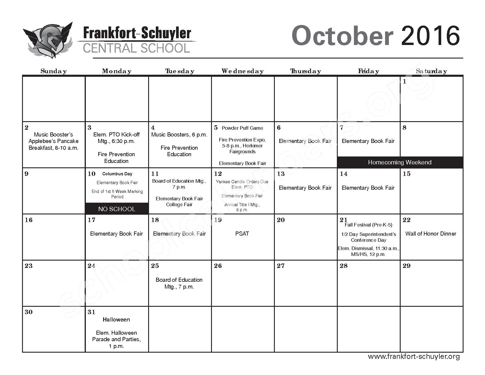 2016 - 2017 District Calendar – Frankfort-Schuyler Central School District – page 7