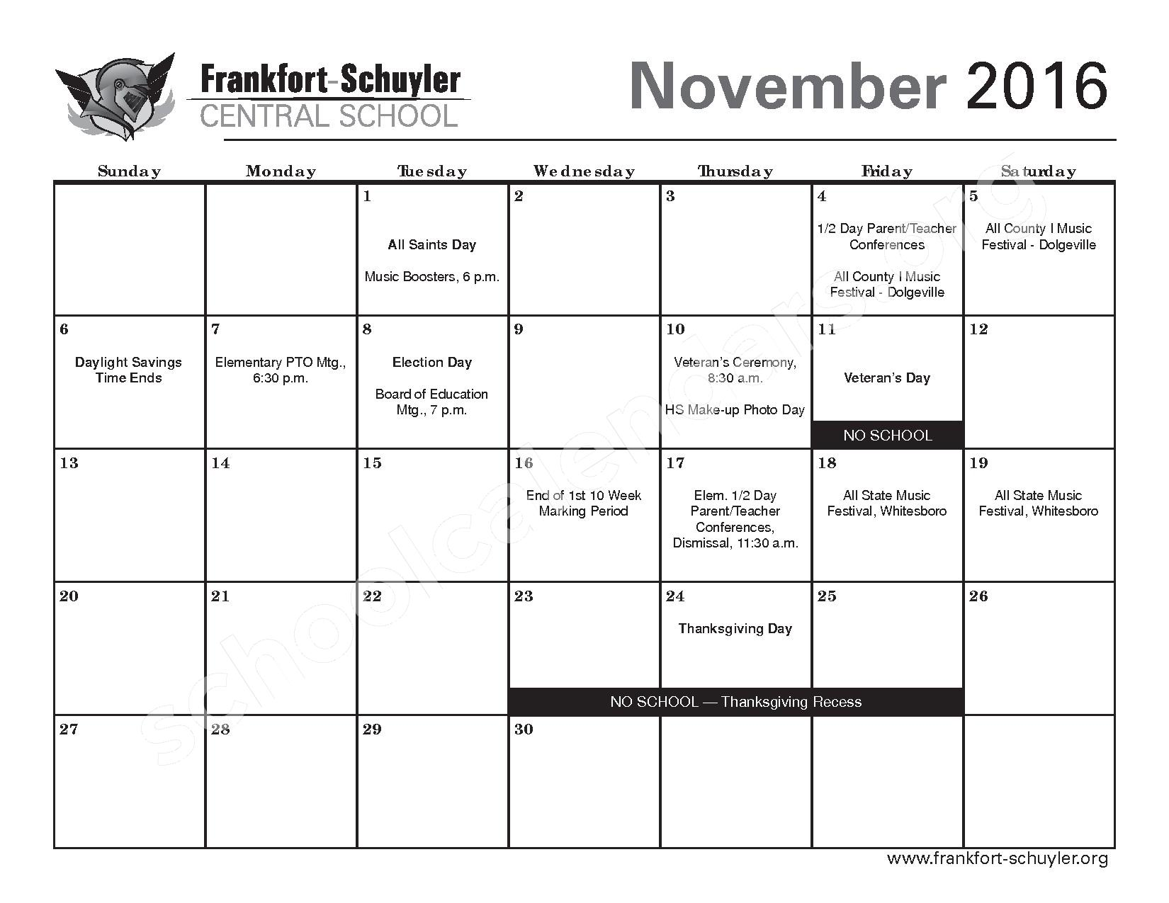 2016 - 2017 District Calendar – West Frankfort Elementary School – page 9