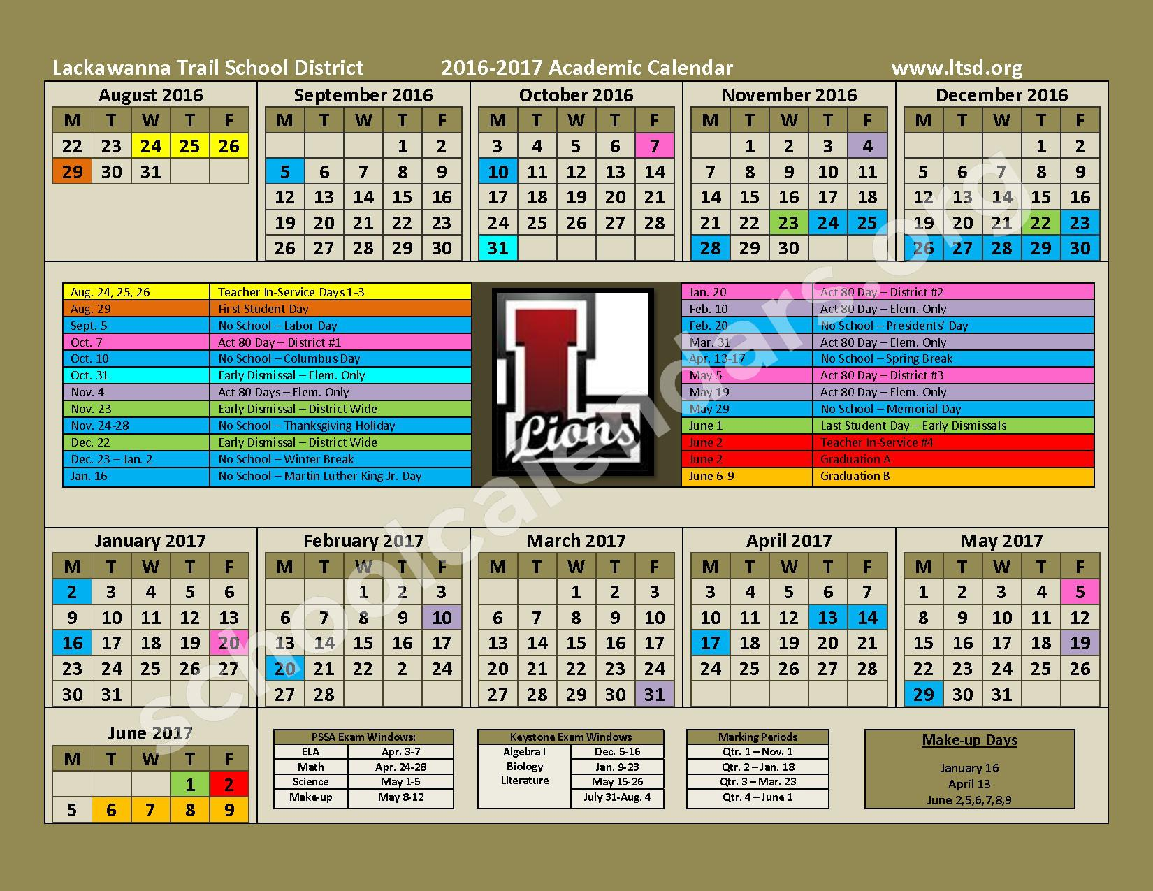 2016 - 2017 Academic Calendar – Lackawanna Trail Junior / Senior High School – page 1