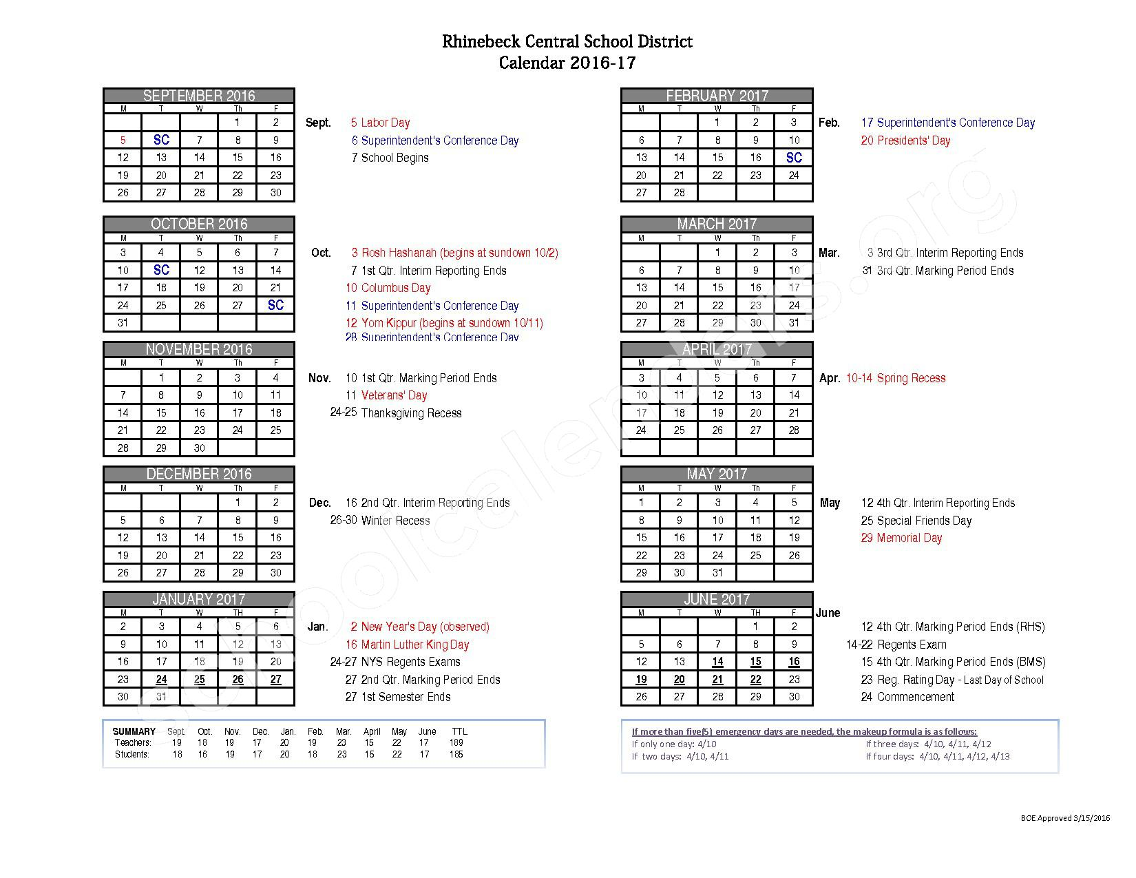 2016 - 2017  District Calendar – Rhinebeck Central School District – page 1