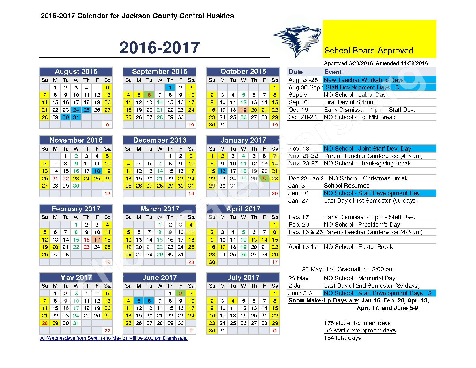 2016 - 2017 District Calendar – Jackson County Central School District – page 1