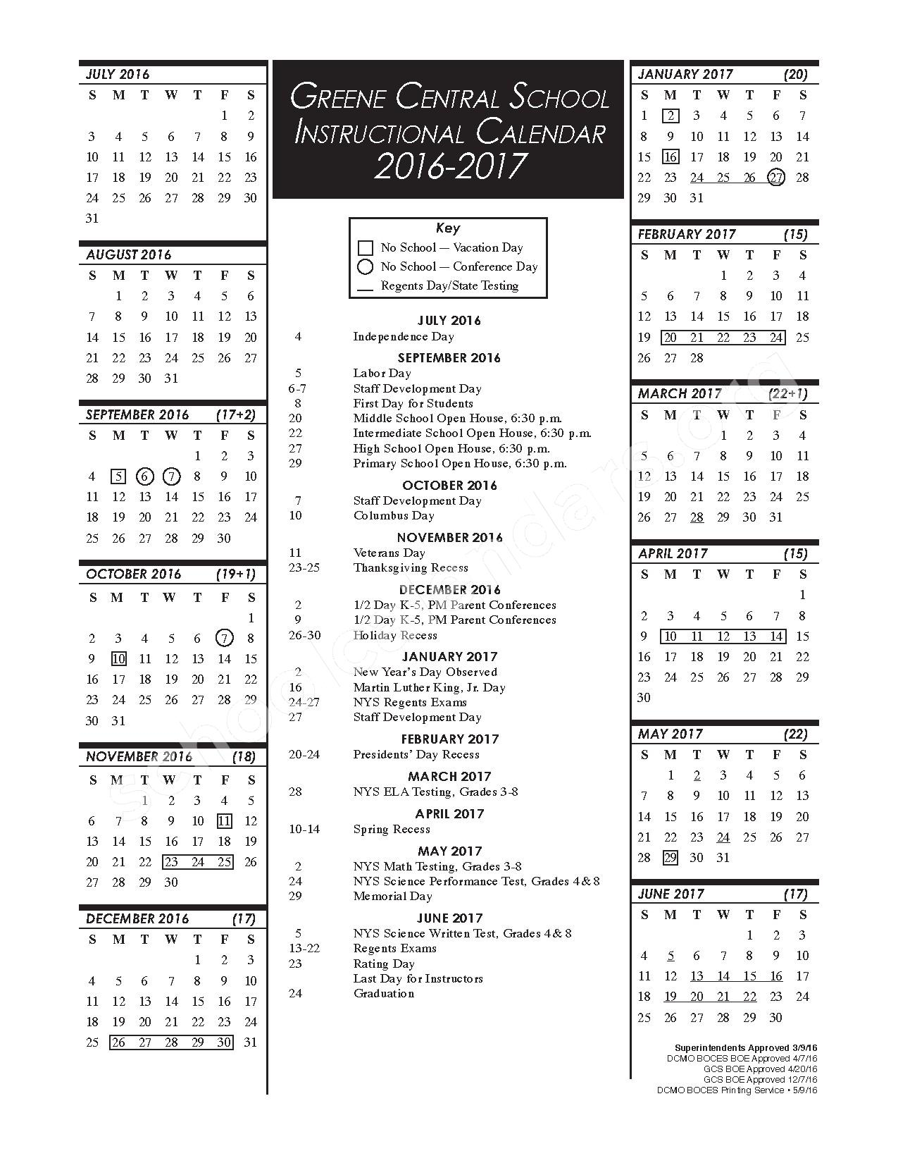 2016 - 2017 District Calendar – Greene Central School District – page 1