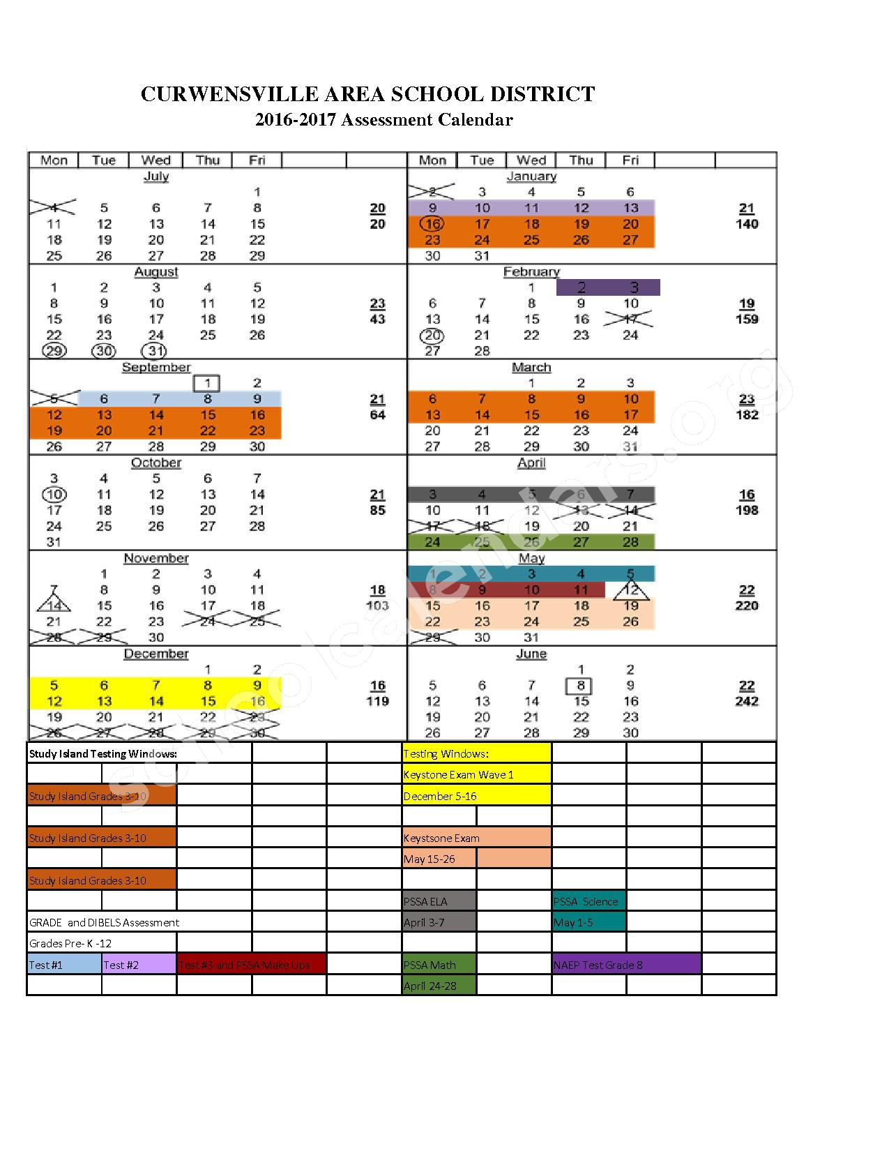 2016 - 2017 District Calendar – Penn-Grampian Elementary School – page 1