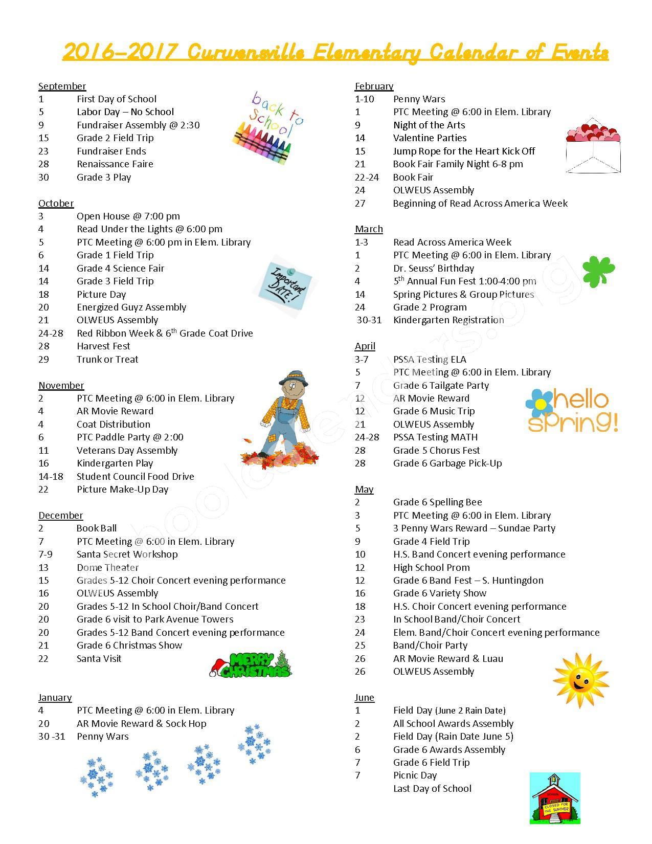 2016 - 2017 District Calendar – Curwensville Area School District – page 1