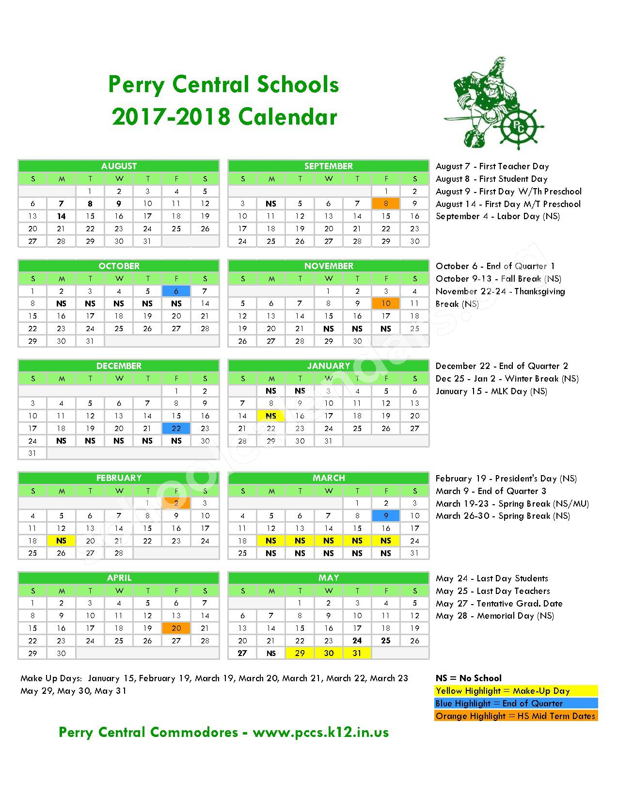 2017 - 2018 School Calendar – Perry Central Community Schools Corporation – page 1