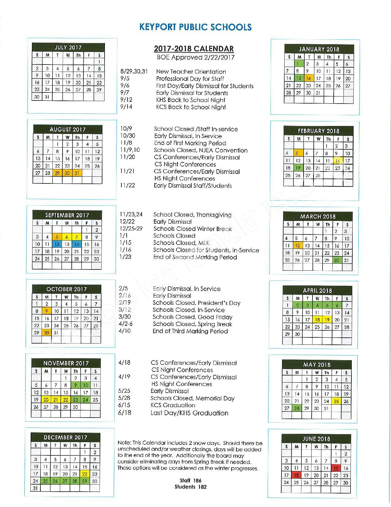 2017 - 2018 KPS Calendar – Keyport Public Schools – page 1