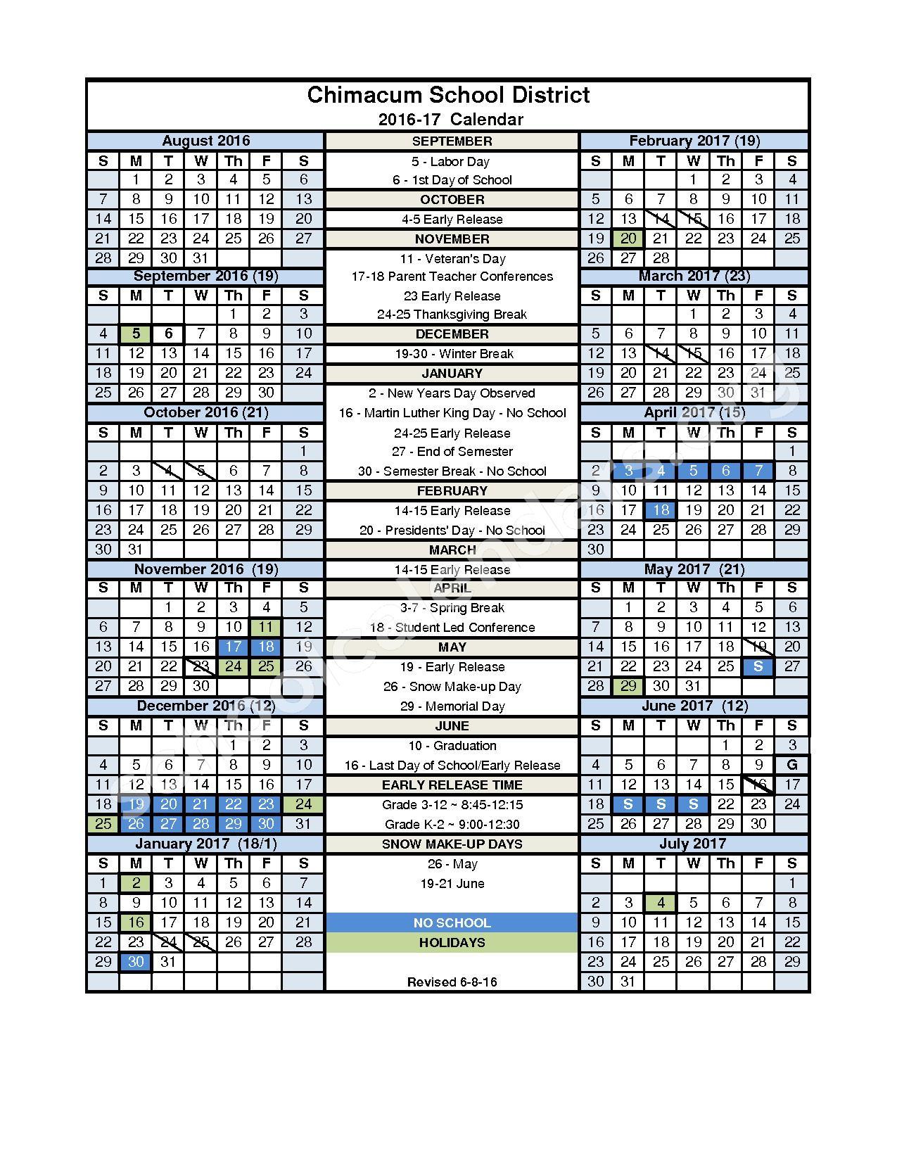 2016 - 2017 District Calendar – Chimacum School District – page 1