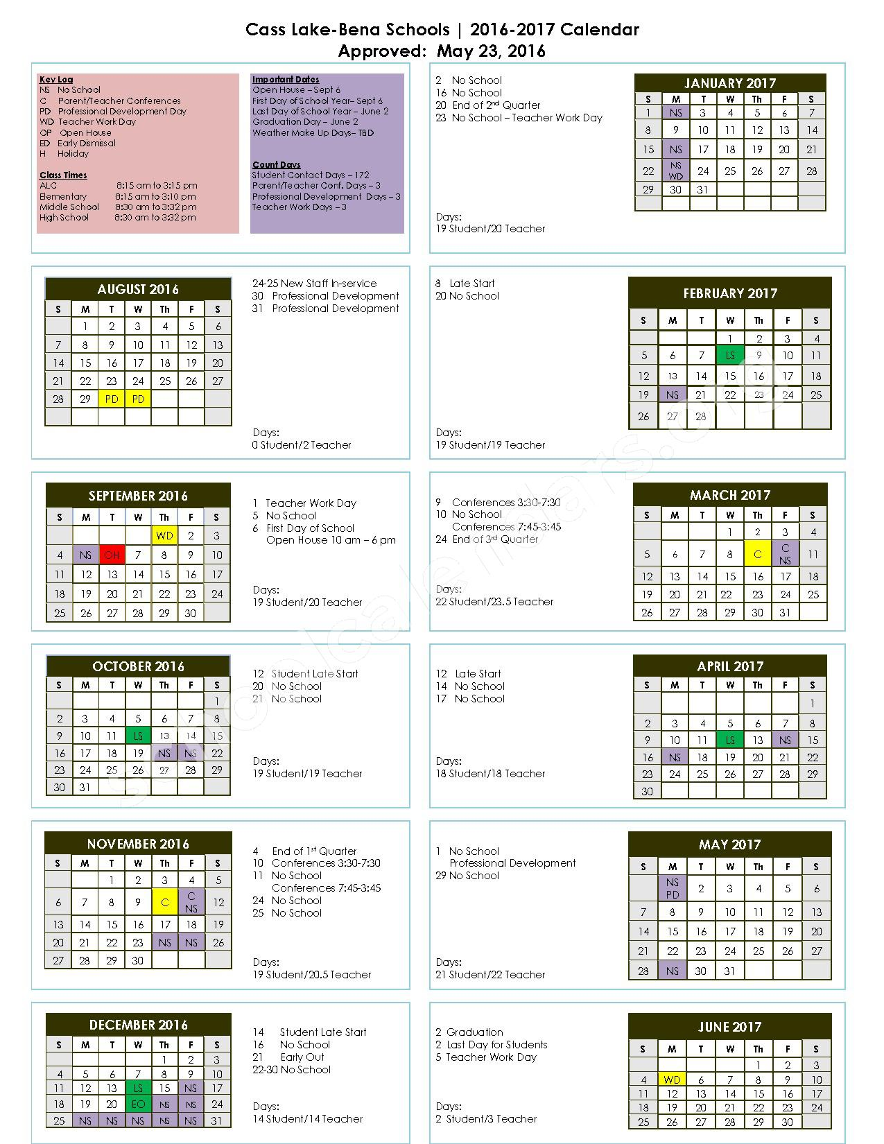 2016 - 2017 School Calendar – Cass Lake-Bena Elementary School – page 1