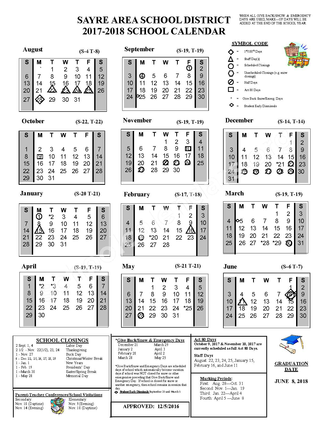 2017 - 2018 School Calendar – Sayre Area School District – page 1