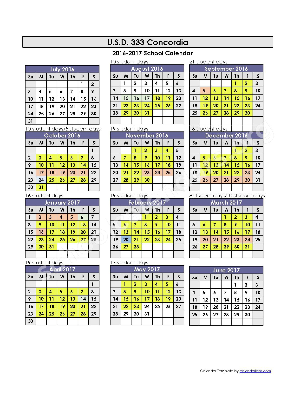 2016 - 2017 District Calendar – Concordia Unified School District 333 – page 1