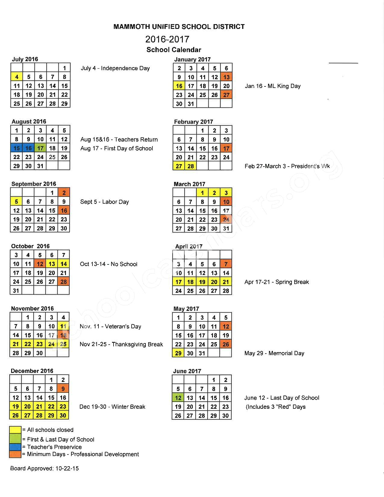 2016 - 2017 School Calendar – Mammoth Unified School District – page 1