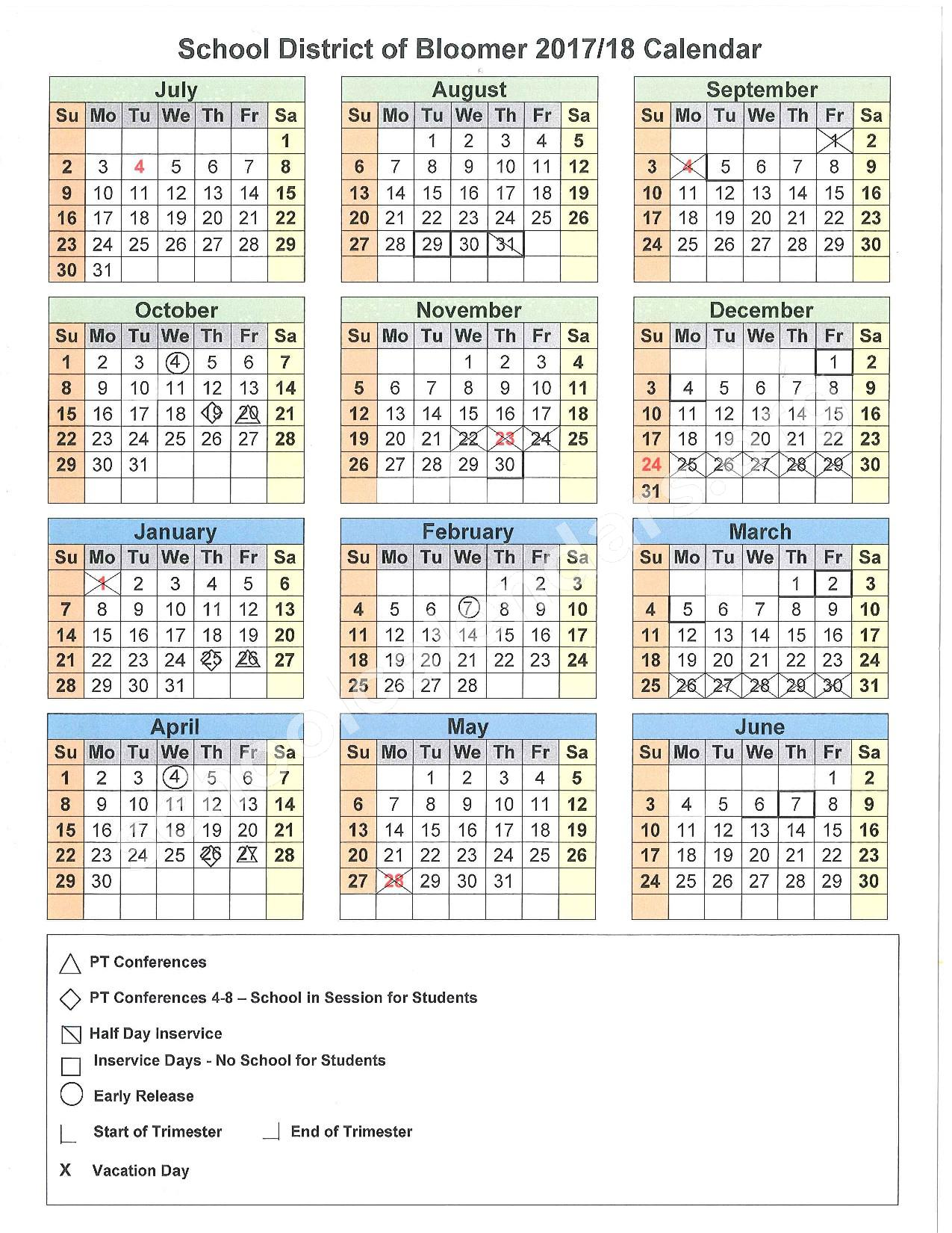 2017 - 2018 District Calendar – Bloomer School District – page 1