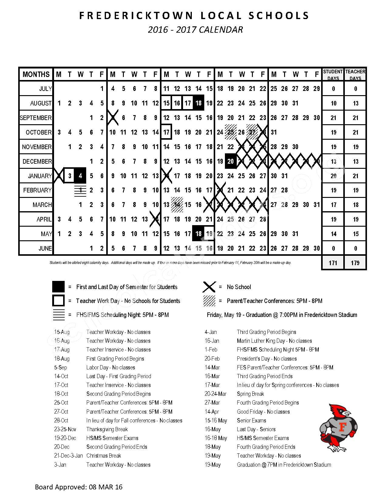 2016 - 2017 School Calendar – Fredericktown Local Schools – page 1
