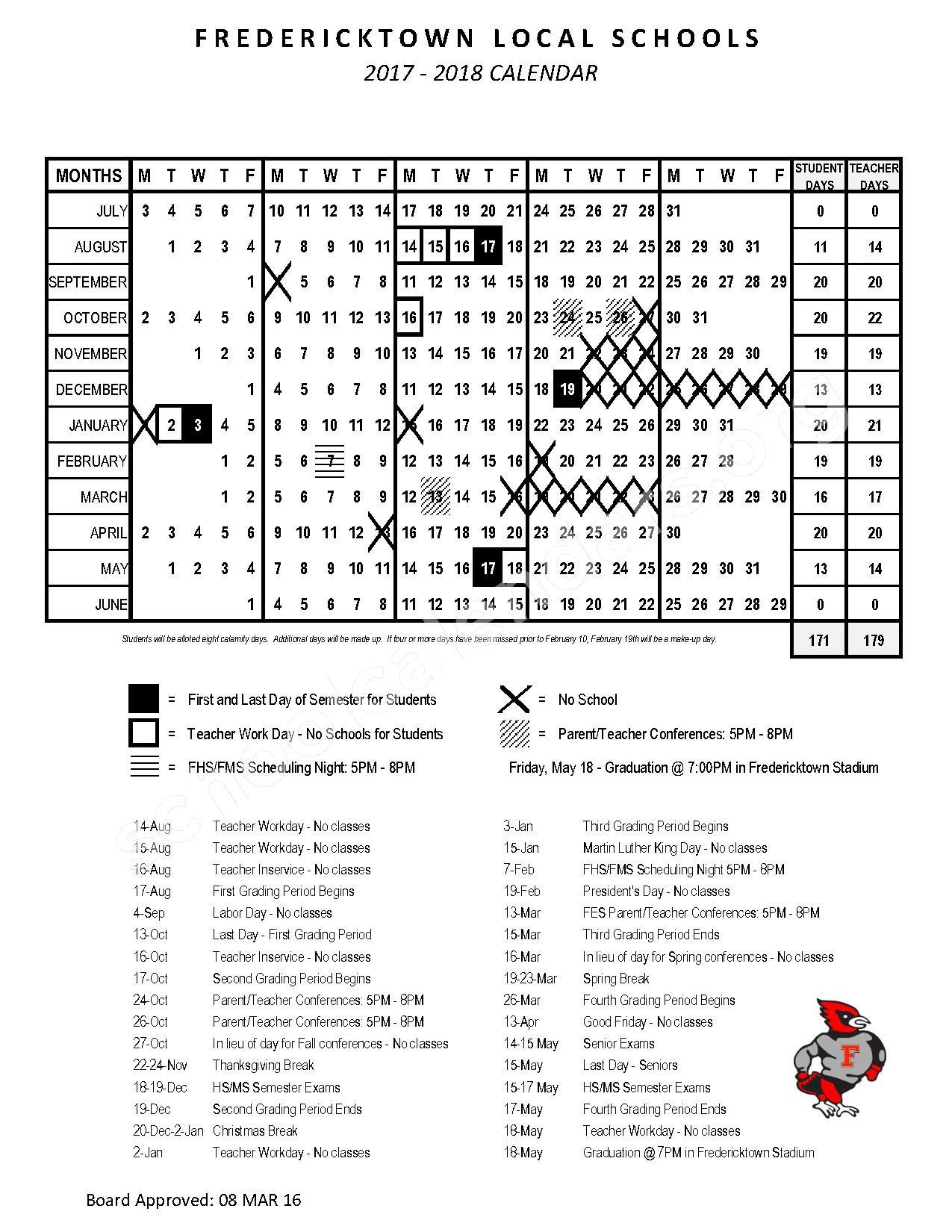 2016 - 2017 School Calendar – Fredericktown Local Schools – page 2