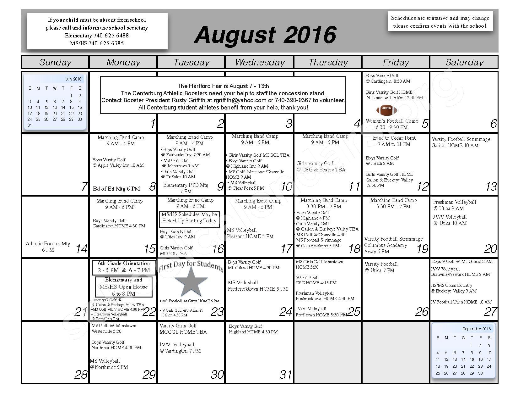 2016 - 2017 School Calendar – Centerburg Local Schools – page 1