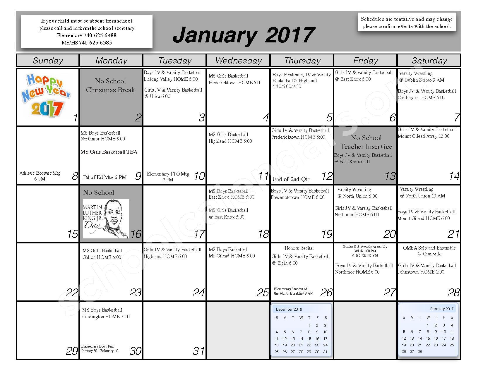 2016 - 2017 School Calendar – Centerburg Local Schools – page 6