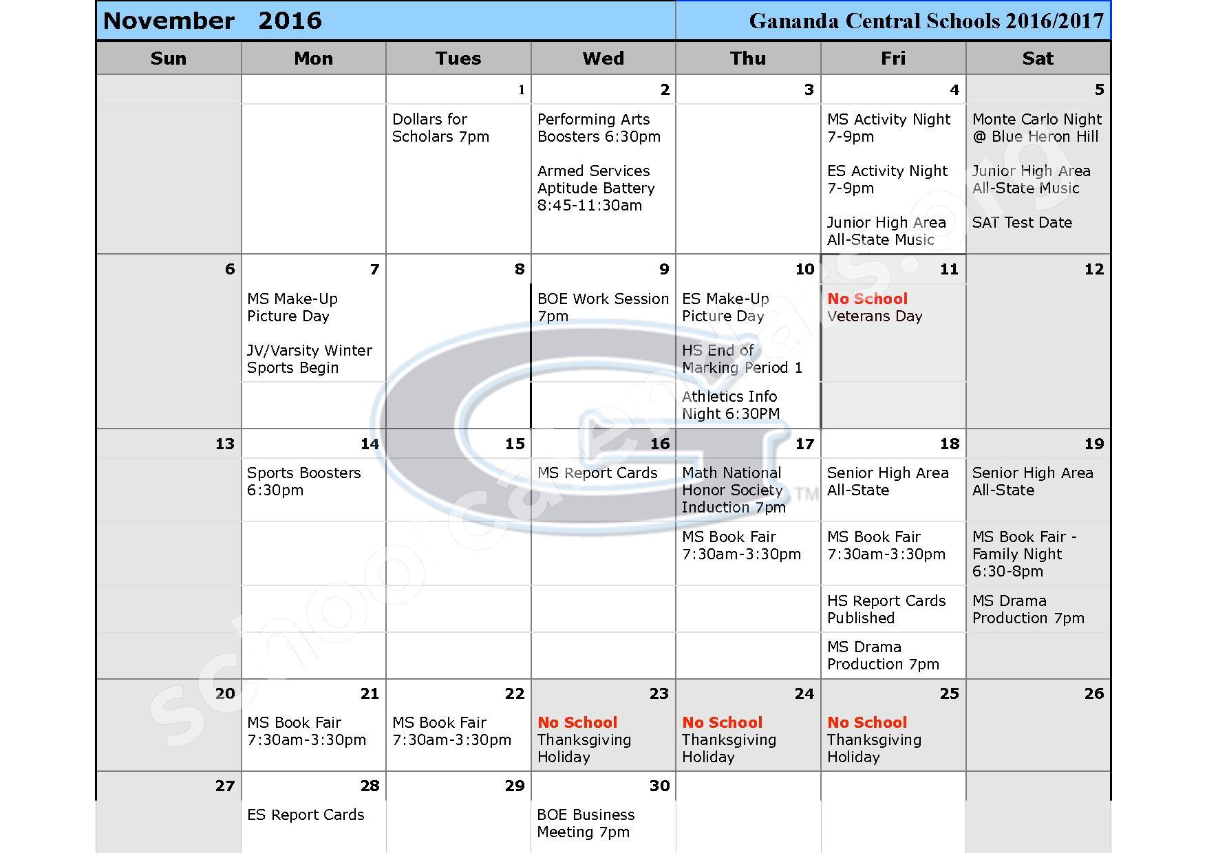 2016 - 2017 School Calendar – Ruben A Cirillo High School – page 4